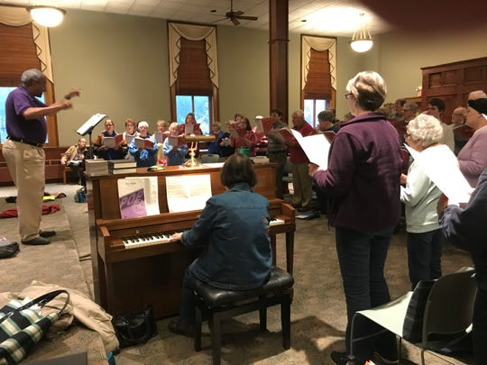 "Paul Holland leads Common Time Choral Group in a recent rehearsal ahead of the upcoming ""Potporri of Music"" concert at the Clemens Center."