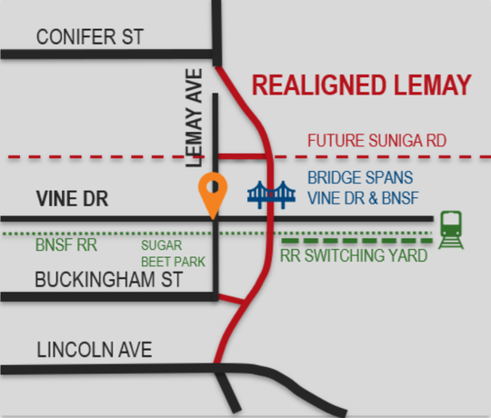 The Fort Collins engineering department graphic illustrating the proposed new alignment for Lemay Avenue in Fort Collins.