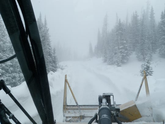 This photo shows the worsening conditions along Trail Ridge Road during Wednesday's plowing operations of the Rocky Mountain National Park Road.