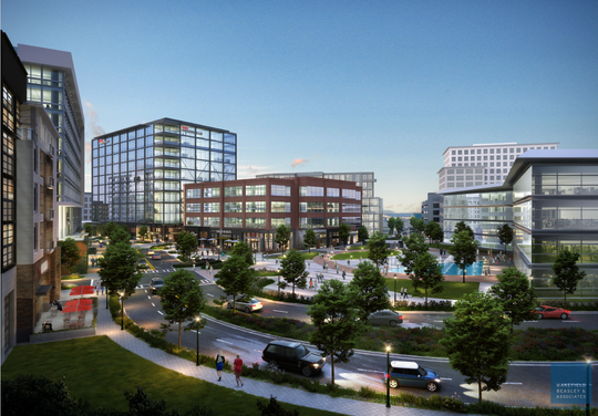 This updated rendering provided on May 22, 2019, from Atlanta development firm RocaPoint Partners shows a concept for future construction around University Ridge near its intersection with Church Street. Note the proposed $65 million Greenville County administrative building on the right. Planners want to redirect University Ridge across the present-day County Square parking lot and have it intersect at the traffic circle in front of the Governor's School for the Arts and Humanities.