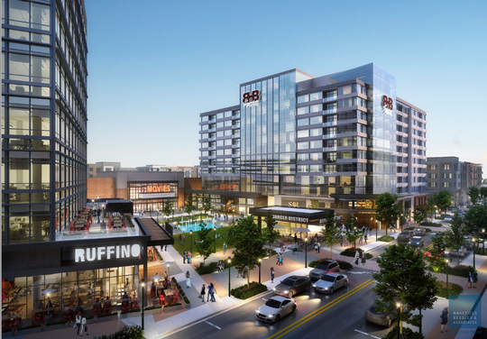 This updated rendering provided on May 22, 2019, from Atlanta development firm RocaPoint Partners shows a concept for future construction around University Ridge. The developers said they want to mimic the layout of Main Street in downtown Greenville while adding amenities such as a multiplex cinema, grocery store and multi-level fitness studio.