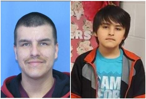 Authorities have issued a Missing Endangered Person Alert for Delwin Calflooking Jr., right, of Browning, who was last seen in Browning on May 13 and believed to be in the company of his father, Delwin Paul Calflooking Sr., left, in the Missoula area.