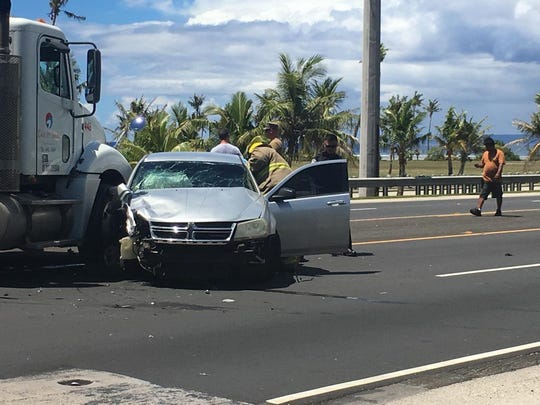 Car accident in front of Asan Beach on May 22, 2019.