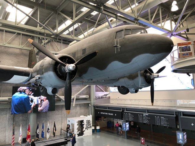 This Douglas C-47 transport plane, which is suspended above the main lobby of the National World War II Museum in New Orleans, dropped paratroopers from the 82nd and 101st Airborne Divisions during the Normandy Invasion 75 years ago.