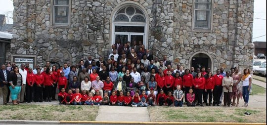 First Missionary Baptist Church congregants gather for a group photo outside in this recent photo.