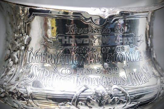 The trophy of 1919 Liberty Sweepstakes, now known as the Indianapolis 500, winner Howdy Wilcox is displayed at the Indianapolis Motor Speedway Museum on Tuesday, May 22, 2019. The trophy was donated by his family in 1980.