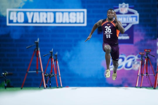 Temple defensive back Rock Ya-Sin runs the 40 yard dash during the 2019 NFL Combine at Lucas Oil Stadium.
