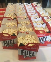 Popcorn was on the menu at the Indiana Society of Washington's Indy 500 preview party Tuesday, May 21, 2019. Vice President Mike Pence made a surprise appearance at the event on Capitol Hill.