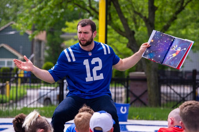 Indianapolis Colts' quarterback Andrew Luck reads to a group of children at The Children's Museum of Indianapolis. The museum was host to celebrities and caregivers of wounded veterans, Wednesday, May 22, 2019, as they participated in an event coordinated by Elizabeth Dole Foundation's Hidden Heroes.