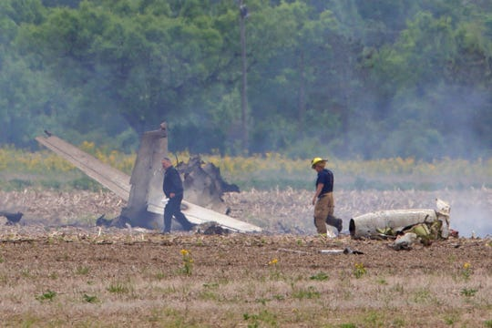 Rescue workers were at the scene of a plane crash northeast of Indianapolis Regional Airport on May 22, 2019. The Indiana State Police report two people died in the crash.