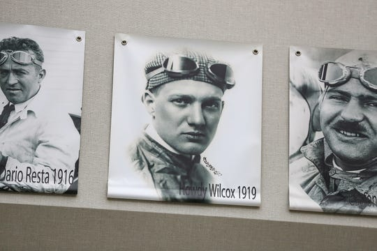 A photo of 1919 Liberty Sweepstakes winner Howdy Wilcox is displayed at the Indianapolis Motor Speedway Museum on Tuesday, May 22, 2019.
