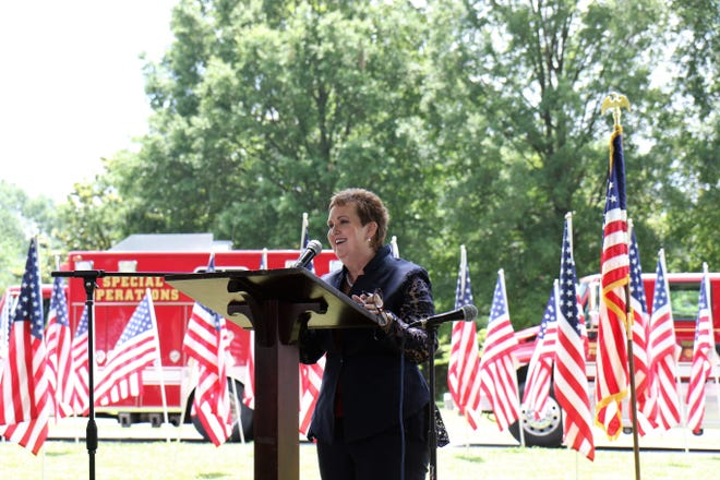 Lori Weir delivers her keynote speech during the Flags of Freedom ceremony on Tuesday.