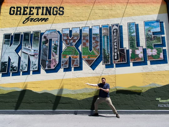 Ryan Wilusz at the Greetings from Knoxville mural on Broadway.