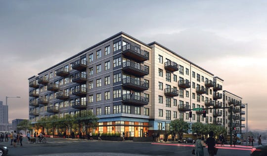 Renderings of the mixed-use apartment complex whose PILOT received City Council approval for Tuesday, May 22, 2019.