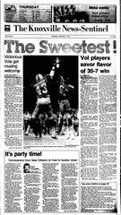 The News Sentinel devoted all of Page One to the Vols' Sugar Bowl upset over Miami on Jan. 1, 1986.