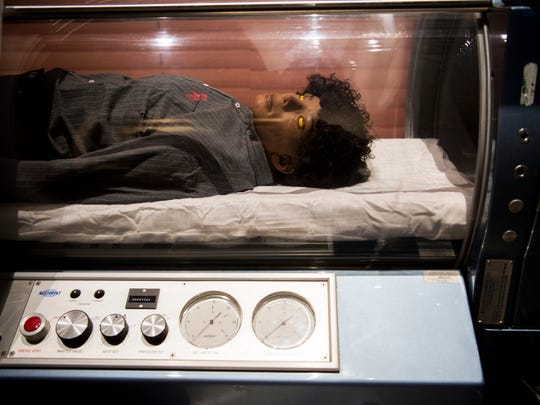 A wax figure of Michael Jackson inside a hyperbaric chamber inside the National Enquirer Live attraction in Pigeon Forge on Wednesday, May 22, 2019.