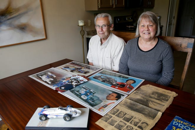 Rich and KT Roth sit for a photo with INDY500 memorabilia from over the years, Wednesday, May 15, 2019, at their Rossville home. Rich is attending his 60th INDY500 race this year.
