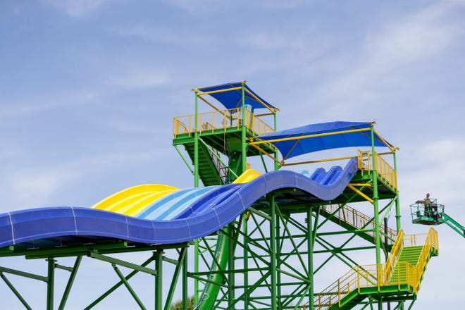 Construction continues on the water slides at Tropicanoe Cove, Wednesday, May 22, 2019, at Columbian Park in Lafayette.