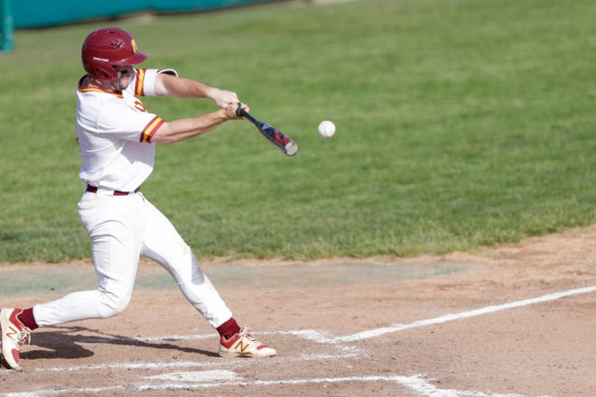 McCutcheon catcher Peyton Williams (4) swings during the fifth inning of the first round of the 4a Baseball Sectional, Wednesday, May 22, 2019, at Loeb Stadium in Lafayette. McCutcheon won, 2-0.