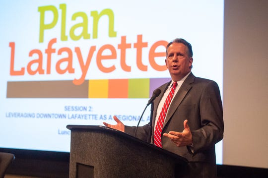 Mayor President Joel Robideaux  speaking at PlanLafayette Day: Strategizing Economic Growth hosted by One Acadiana at the LITE Center. Wednesday, May 22, 2019.