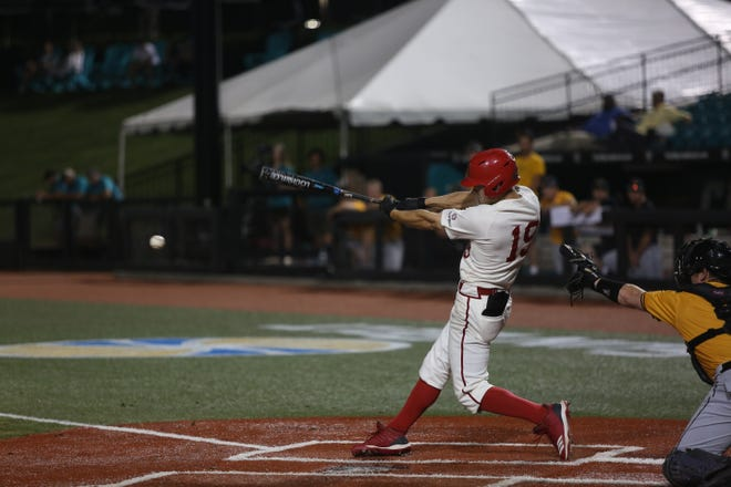 UL's Hunter Kasuls gets a hit as the Ragin' Cajuns play Appalachian State in the first round of the Sun Belt Conference Tournament Tuesday in Conway, South Carolina. Kasuls roped a two-run single down the left field line in the sixth inning, pushing UL to a two-run advantage over App State.