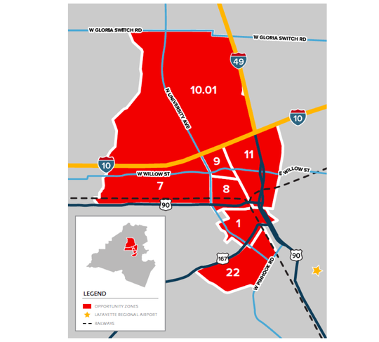 Lafayette's federal opportunity zones are concentrated in lower income census tracts where increased investment and development are priorities.