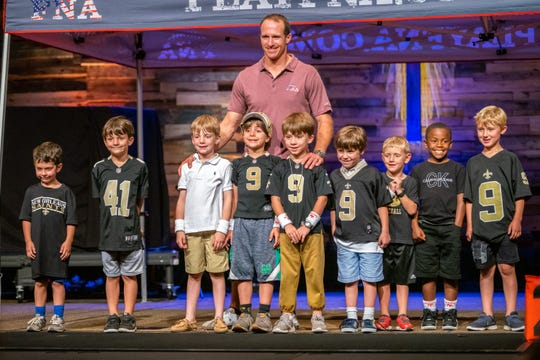 NFL Saints' quarterback Drew Brees introduces his new FNA flag football league in Lafayette at the Bayou Church on Tuesday, May 21, 2019.
