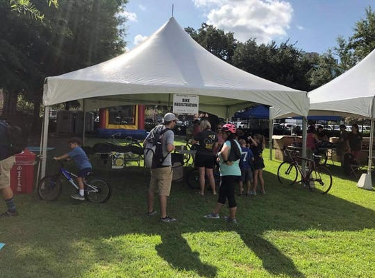 Bike Registration tent at the Bicycle Safety Festival
