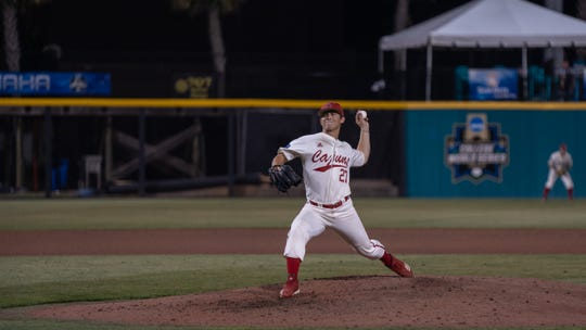 UL's Austin Perrin throws a pitch as the Ragin' Cajuns play Appalachian State in the the first round of the Sun Belt Conference tournament Tuesday in Conway, South Carolina. Perrin pitched 3.0 shutout innings for the Cajuns.
