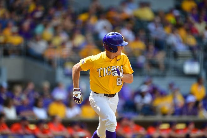 LSU outfielder Antoine Duplantis rounds the bases.