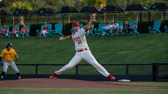 UL's Brandon Young pitches as the Ragin' Cajuns play Appalachian State in the the first round of the Sun Belt Conference tournament Tuesday in Conway, South Carolina. Young started for the Cajuns, pitching 4.2 innings and striking out eight.