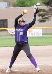 Fowlerville's Leah Ash pitches during the Greater Lansing Hall of Fame Softball Classic on Tuesday, May 21, 2019.
