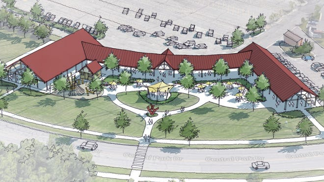 A conceptual drawing of the future Meridian Township Farmers Market pavilion.