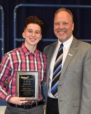 Lex Bise, the 2019 Byron H. Carmean Award winner with Superintendent Greg Nickoli
