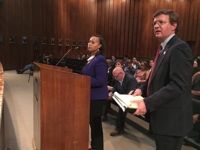 City of Memphis Chief Human Resources Director Alex Smith (left) and labor union attorney Timothy Taylor (right) each asked City Council members to support their position on employee pay raises Tuesday.