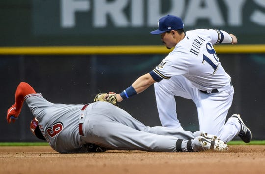 Reds rightfielder Phillip Ervin beats Keston Hiura's tag at second in the first inning.