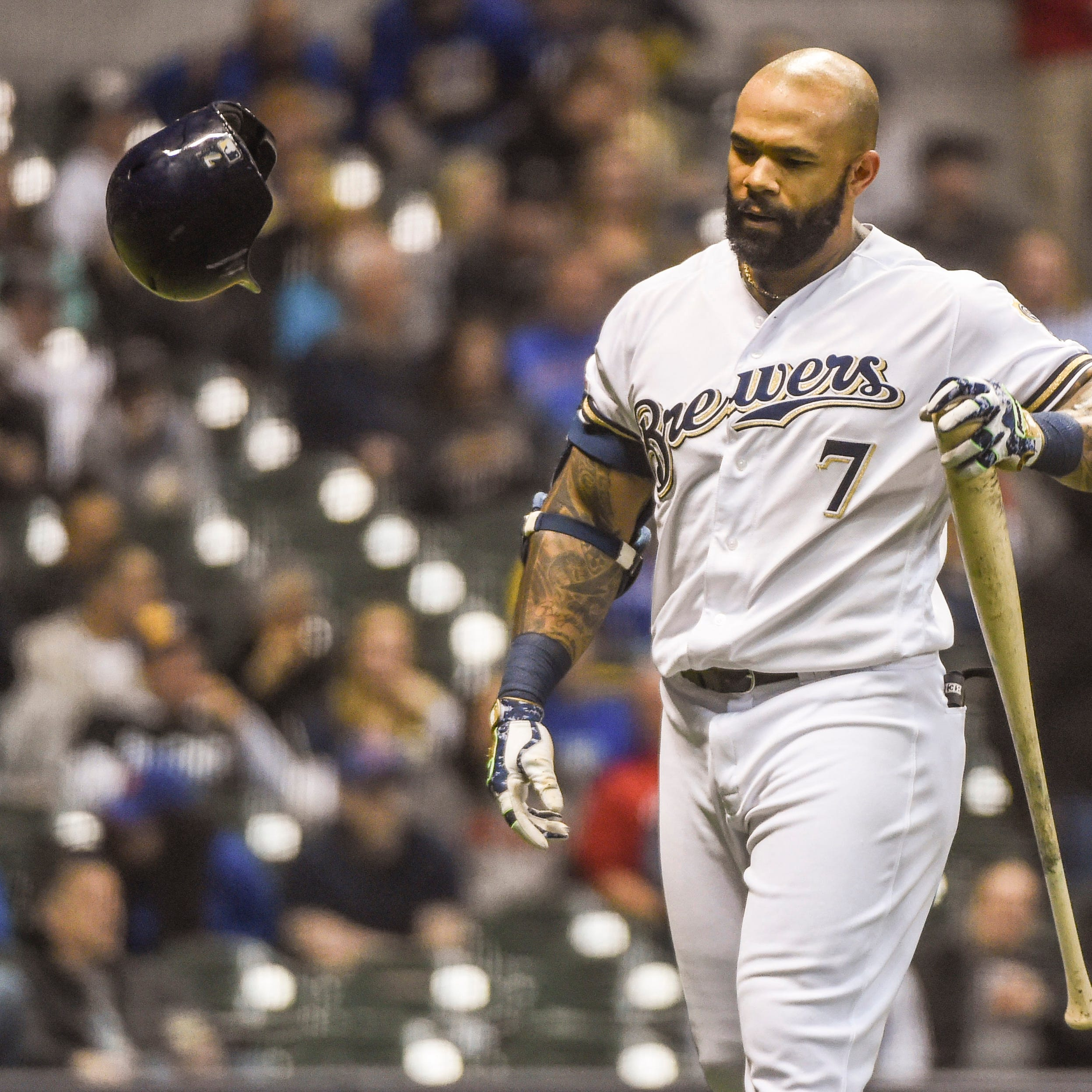 It has been Eric Thames' turn to play as Brewers search for some offense at first base