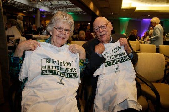 Nancy Lucey and her husband, Tom, grew up in Wauwatosa and have always been Bucks fans. They joined other residents at St. Camillus to enjoy a Bucks game watch party.
