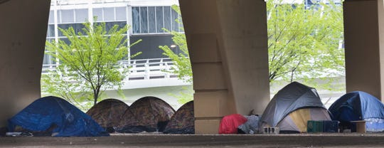"An area underneath the Marquette Interchange is known as ""Tent City."""