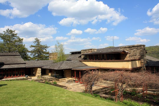 "Wisconsin architect Frank Lloyd Wright built Taliesin, which means ""shining brow"" in Welsh, just below the brow of a hill in the rolling countryside outside of Spring Green."