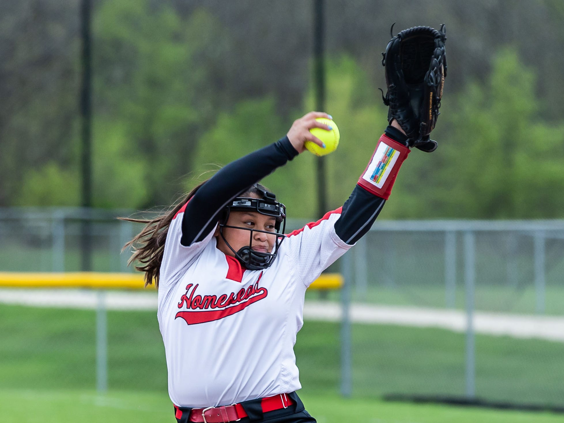 Homestead pitcher Katherine Schoessow (15) winds up during the regional game at home against Brookfield Central on Tuesday, May 21, 2019.