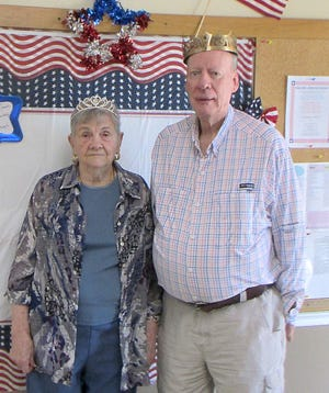 Robert Copeland and Ione Partney were voted King and Queen, respectively, at theVan Matre Senior Activity & Wellness Center. A vote was held at the senior center by secret ballot from May 1-15, with Copeland and Partney elected by a landslide over two other couples. The duo will reign for one year andwill bepresent at all senior center events, as well as participating byriding the center's floats for the area parades. The winners received afree luncheon and prizes on May 20 at the Senior Center.