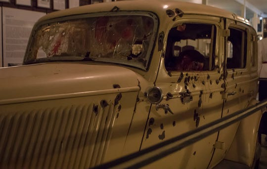 "The ambush car from the 1967 film ""Bonnie and Clyde"" sits on display at the Bonnie and Clyde Ambush Museum in Gibsland, La. Thursday marks the 85th anniversary of the criminal couple's death just South of the town."