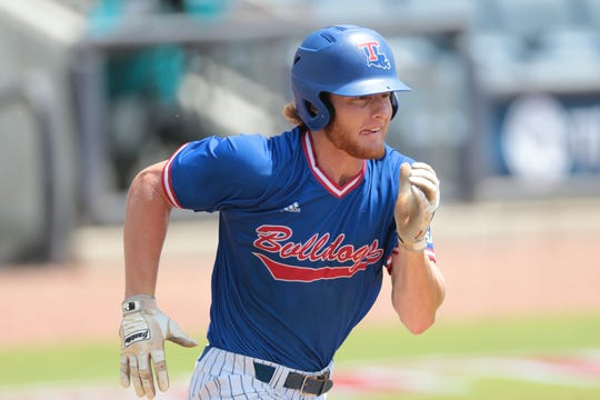 Louisiana Tech senior third baseman Tanner Huddleston (25) runs the bases versus Marshall during 2019 Conference USA Baseball Tournament opening game Wednesday.