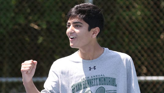 Rohan Amin of Delbarton reacts to winning the 1st doubles final against St. Augustine.
