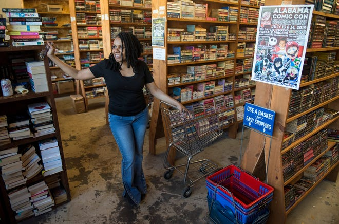 Owner Tammye Jackson inside Trade 'n Books on Madison Ave. in Montgomery, Ala., on Wednesday, May 22, 2019.