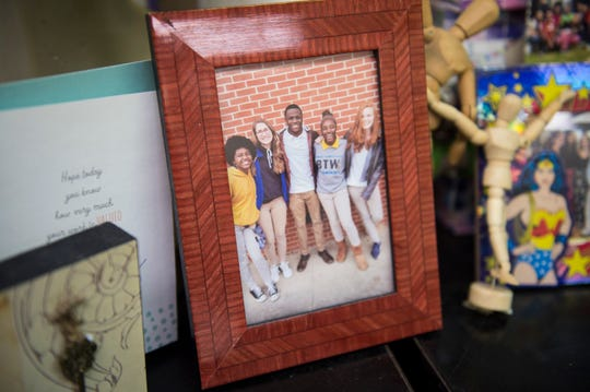 A picture of the visual art seniors sits near teacher Rachel Dudley's desk at Booker T. Washington Magnet School at Hayneville in Montgomery, Ala., on Tuesday, May 21, 2019.