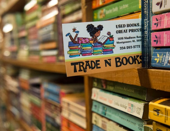 The logo designed by Owner Tammye Jackson's daughter at Trade 'n Books on Madison Ave. in Montgomery, Ala., on Wednesday, May 22, 2019.