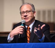 Nashville's mayoral candidate Mayor David Briley answers questions during a forum on transportation at Watson Grove Missionary Baptist Church on Wednesday, May 22, 2019.  The forum was sponsored by Walk Bike Nashville.