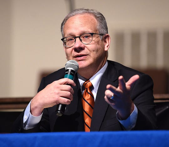 Nashville Mayor David Briley answers questions during a forum on transportation at Watson Grove Missionary Baptist Church on May 22.